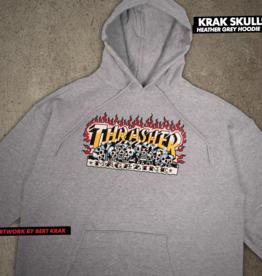 Thrasher Mag. Krak Skulls Hood Heather Grey