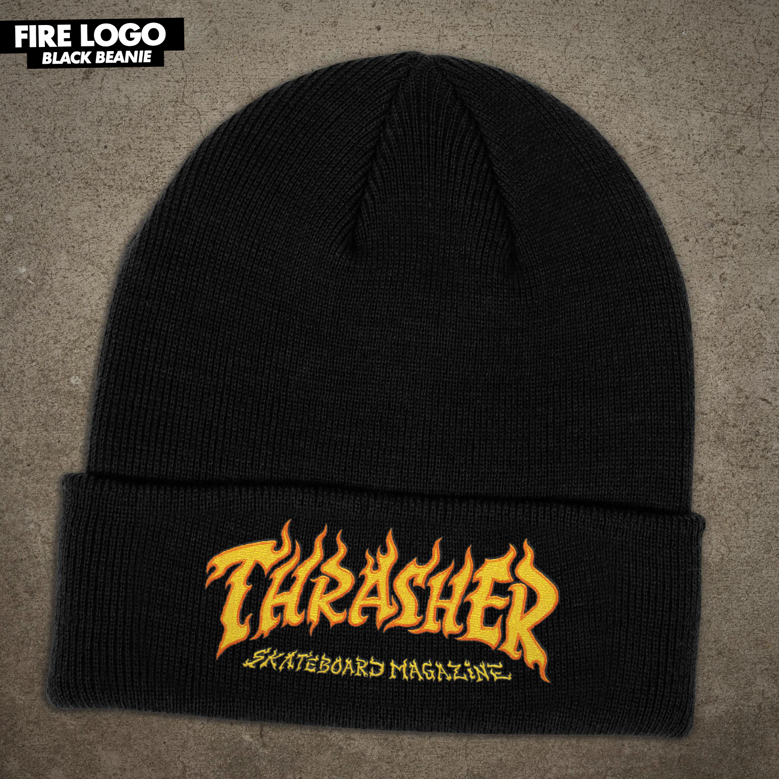 Thrasher Mag. Fire Logo Beanie Black