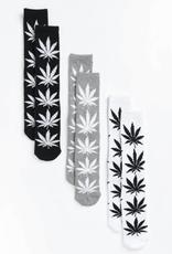 HUF Plantlife 3pack Socks Black/White/Grey