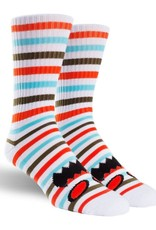 Toy Machine Monster Face Mini Stripes Coral Sock