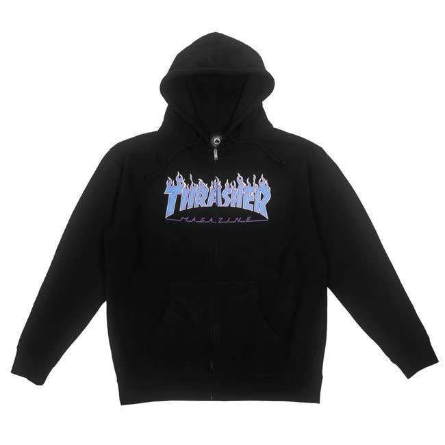 Thrasher Mag. Flame Logo Hood Black/Blue M