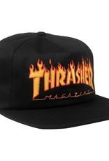 Thrasher Mag. Flame Embroidered Snapback Black