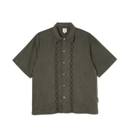 Polar Skate Co. Square Stripe Bowling Shirt Khaki Green