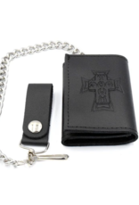 Dogtown Dogtown Vintage Cross Small Trifold Leather Chain Wallet