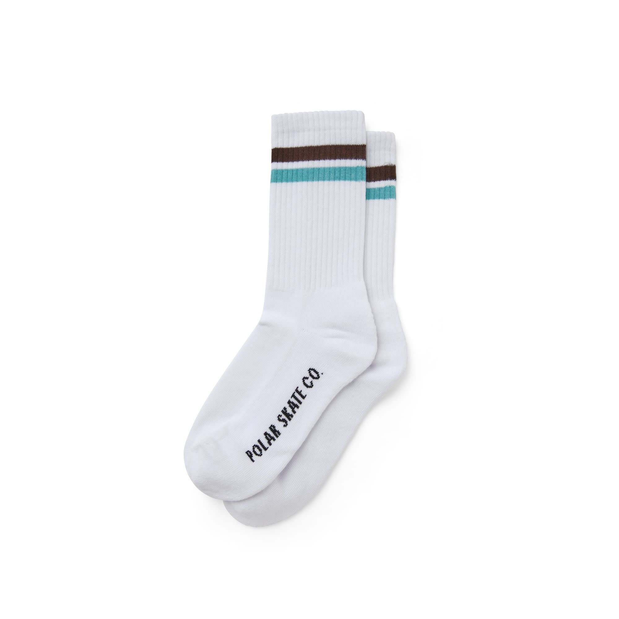 Polar Skate Co. Stripe Socks White/Brown/Mint 39-42