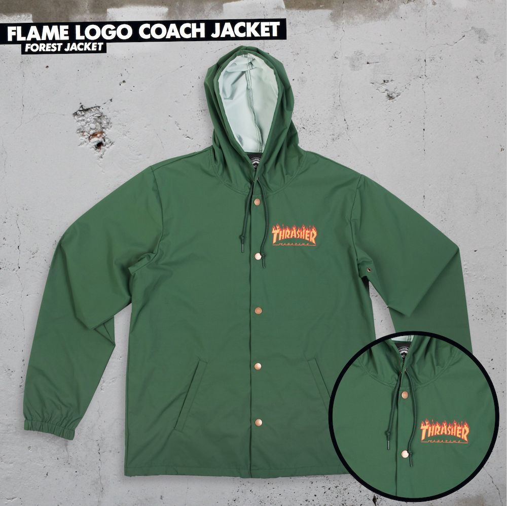 24bb680dbb86 Thrasher Mag. Flame Logo Coach Jacket Forrest - APB Skateshop LLC.