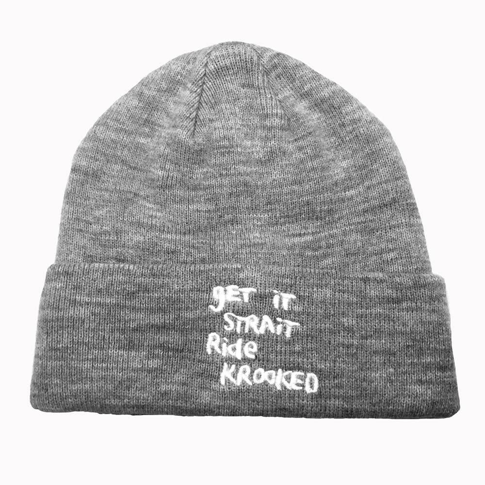 Krooked Get It Strait EMB Grey Cuff Beanie