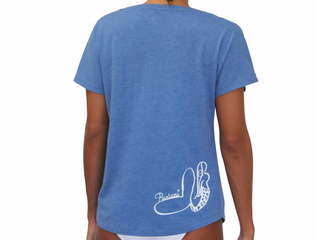 T-Shirt Mermaid Blue w/ White