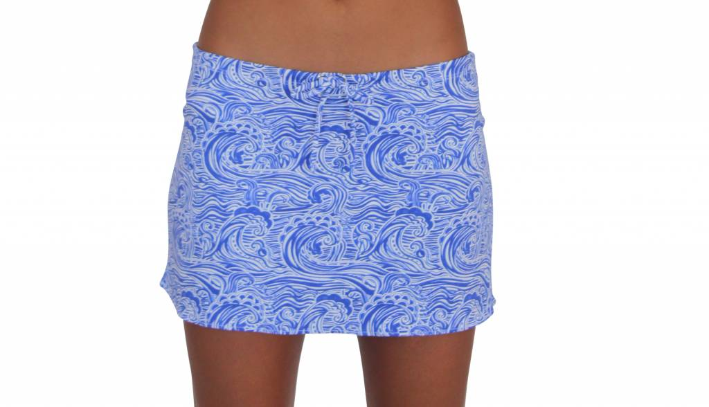Pualani Short Drawstring Skirt Waves