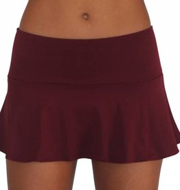 Pualani Skirt w/Attached Bottom Maroon Solid