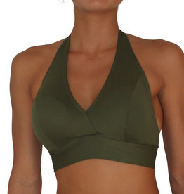 Pualani D Cup Halter Olive Solid