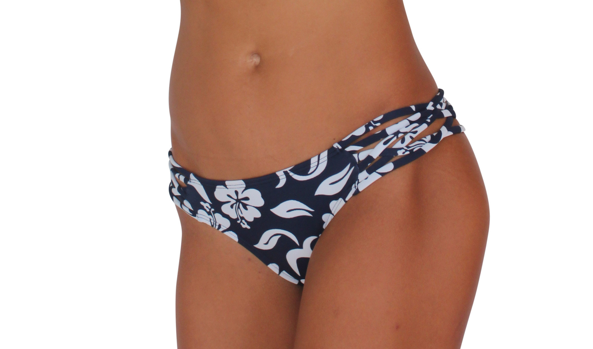 Pualani Skimpy Love with Braided Sides Hibiscus Navy