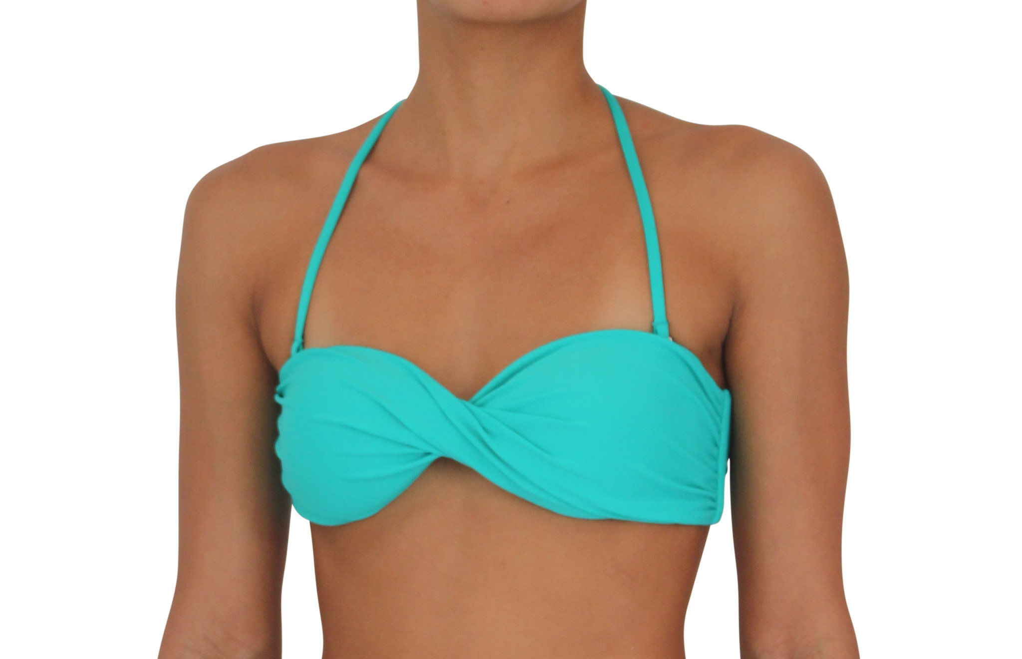 Pualani Twist Bandeau Sea Green Solid