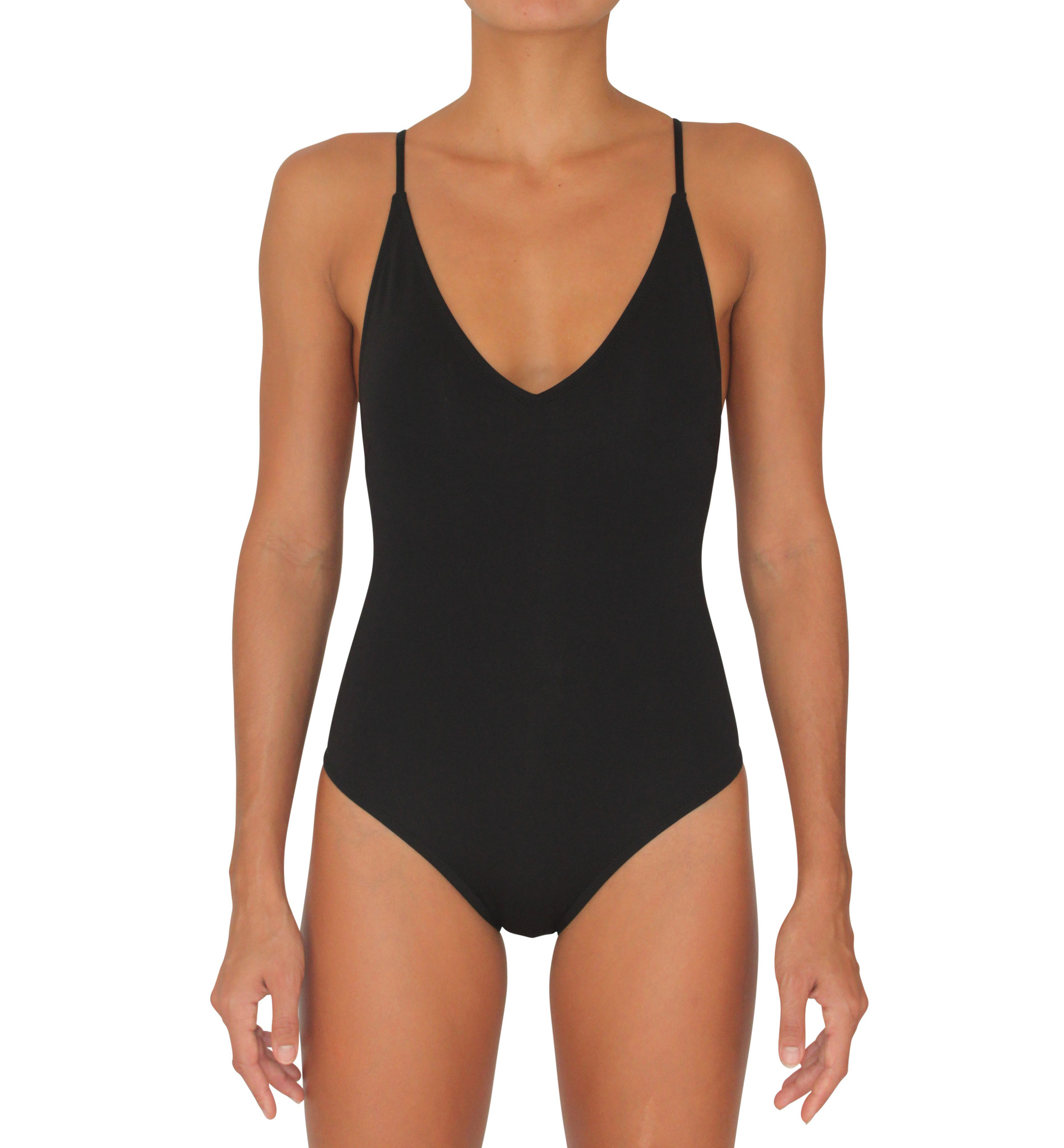 Full Bottom One Piece Black Solid