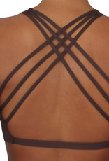 Pualani Reversible Fitness Surf Top Chocolate Solid