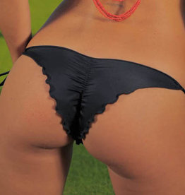 Pualani Skimpy Scrunch Tie Side Black Solid