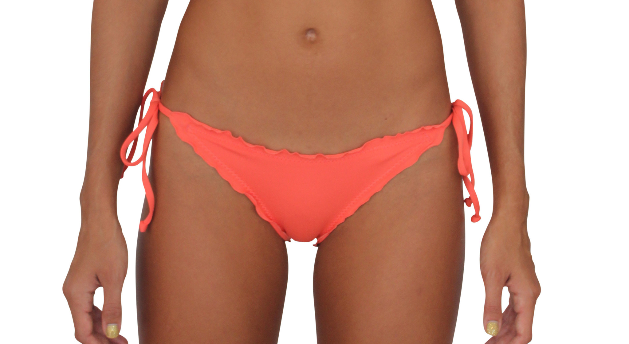 Pualani Skimpy Scrunch Tie Side Coral Solid