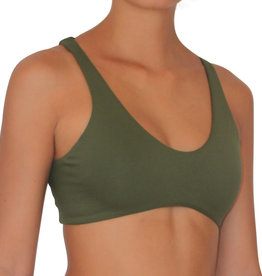 Pualani Reversible Fitness Surf Top Olive Solid