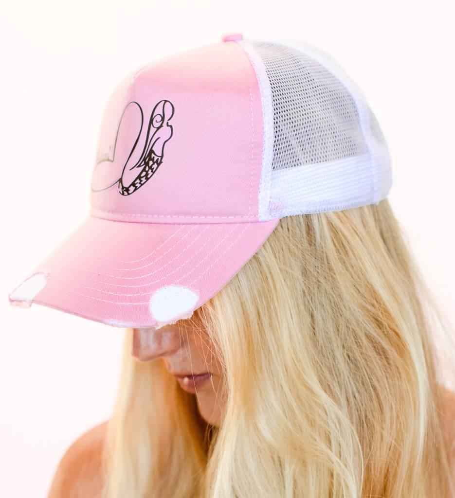 Pualani Snap Back Trucker Hat Pink