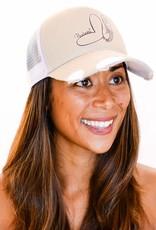 Pualani Snap Back Trucker Hat Ivory