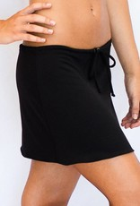 Pualani Short Drawstring Skirt Black Solid