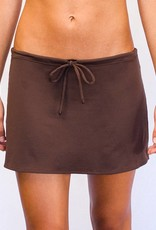 Pualani Short Drawstring Skirt Chocolate Solid