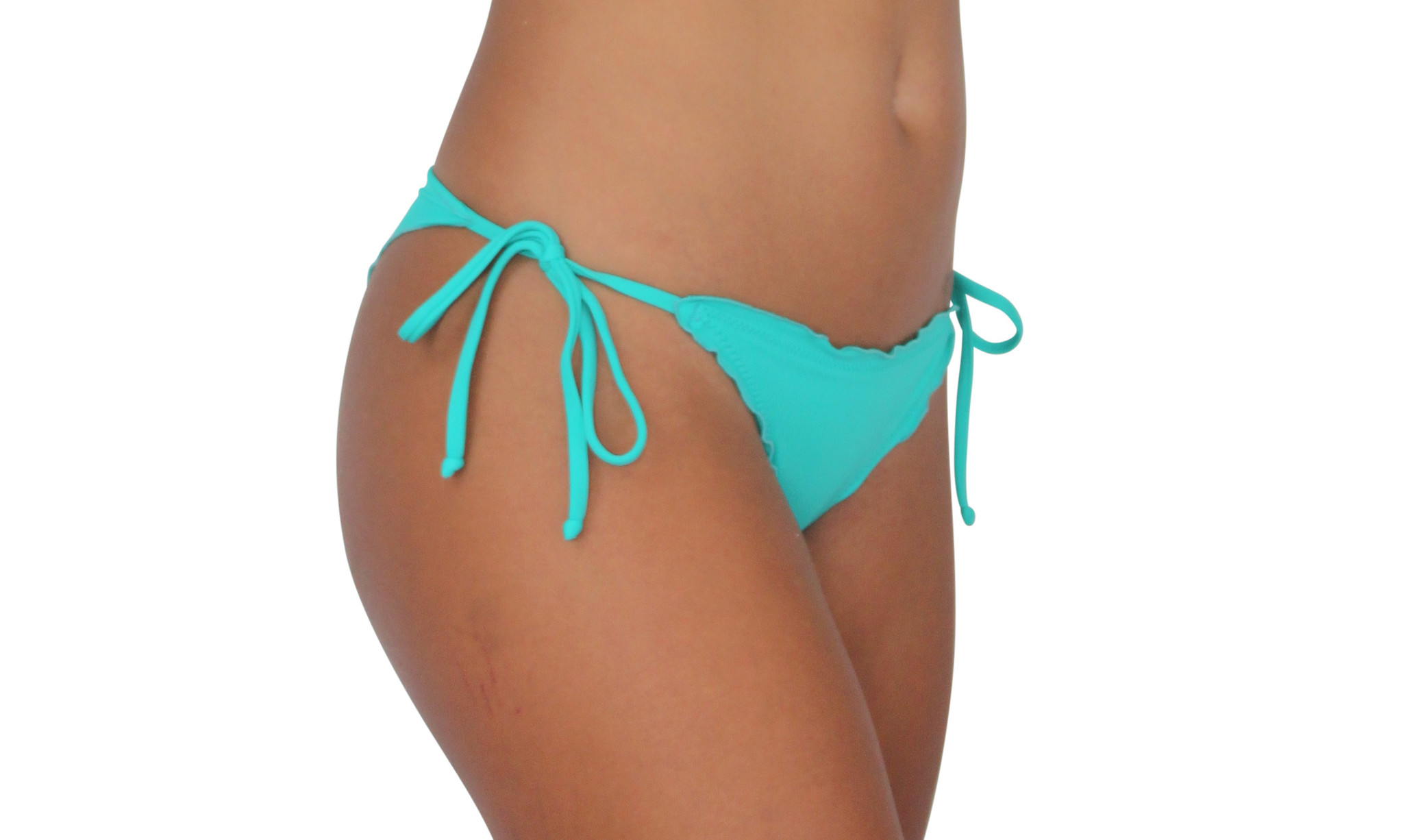 Pualani Skimpy Scrunch Tie Side Sea Green Solid