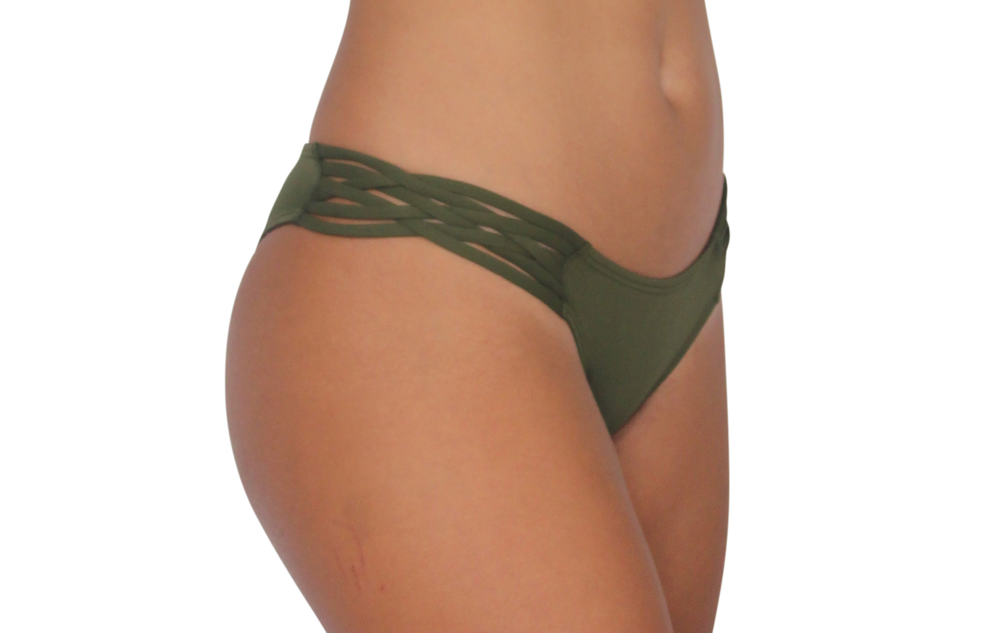 Pualani Skimpy Love with Braided Sides Olive Solid
