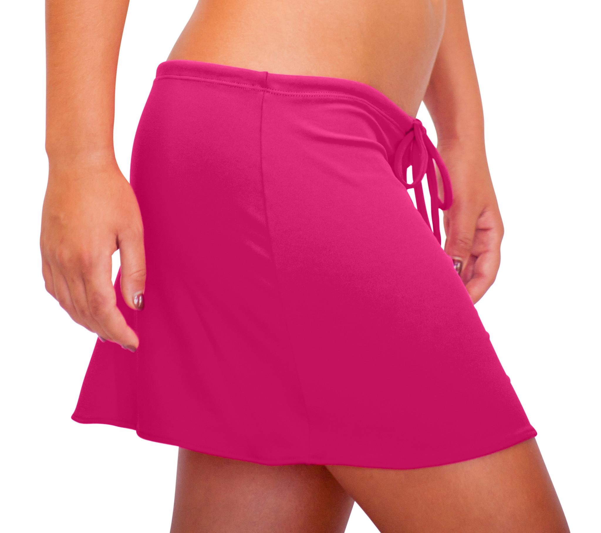 Pualani Short Drawstring Skirt Fuschia Solid