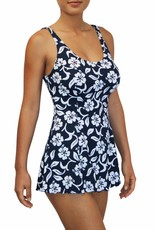 Pualani Tank Dress One Piece Hibiscus Navy
