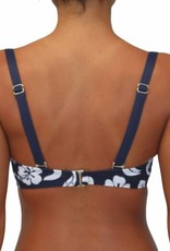 Pualani Soft Cup Bandeau Hibiscus Navy