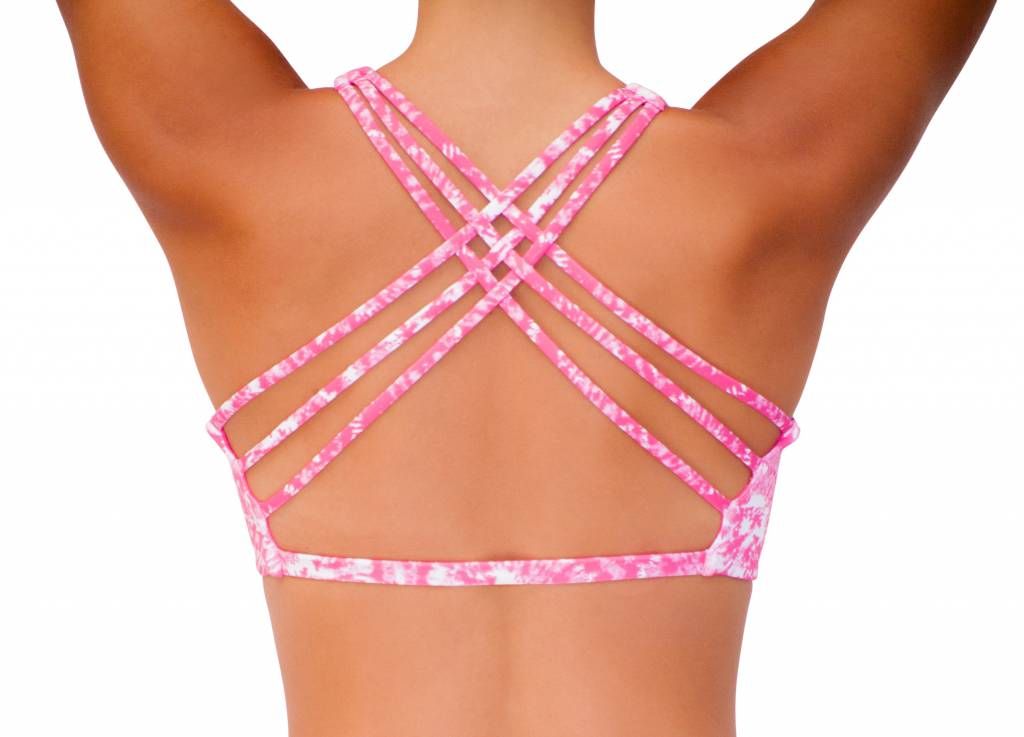 Pualani Reversible Fitness Surf Top Pink Tie Dye
