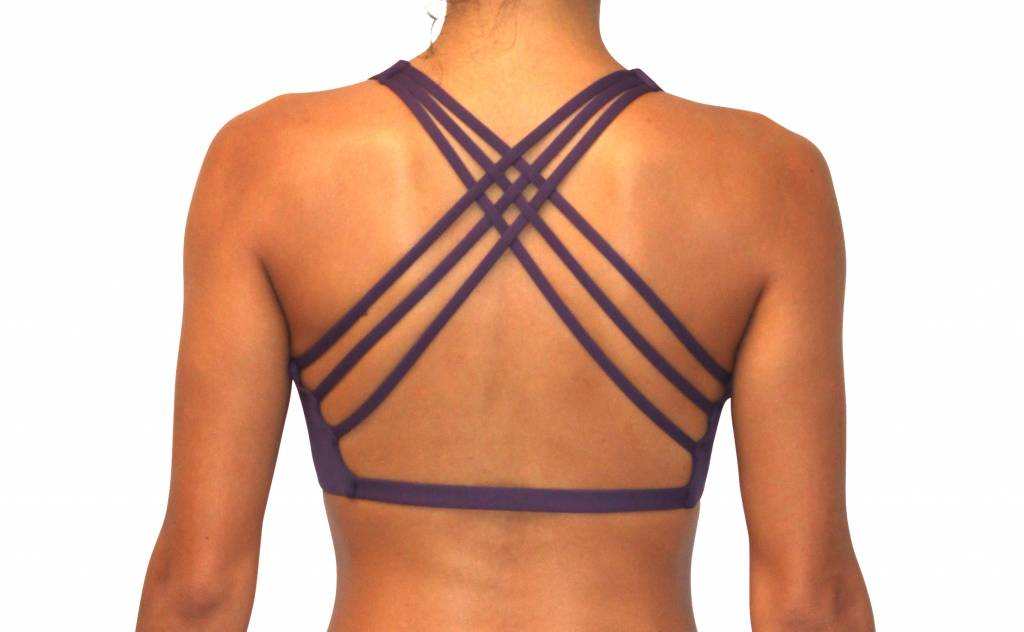 Pualani Reversible Fitness Surf Top Eggplant Solid