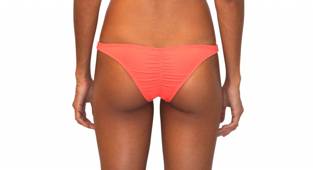 Pualani Skimpy Scrunch Rio Coral Solid Bottom