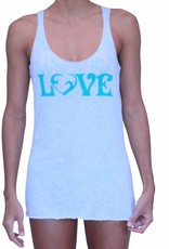 Vintage Love Tank White w/ Sea Green