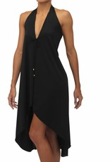 Halter Coverup Black Solid