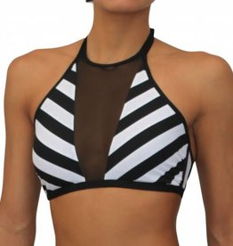 High Neck Mesh Halter Black and White Stripe