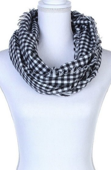 Two Tone Checkered Fray Infinity Scarf