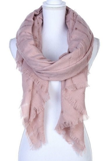 Soft Fray Trim Oblong Scarf