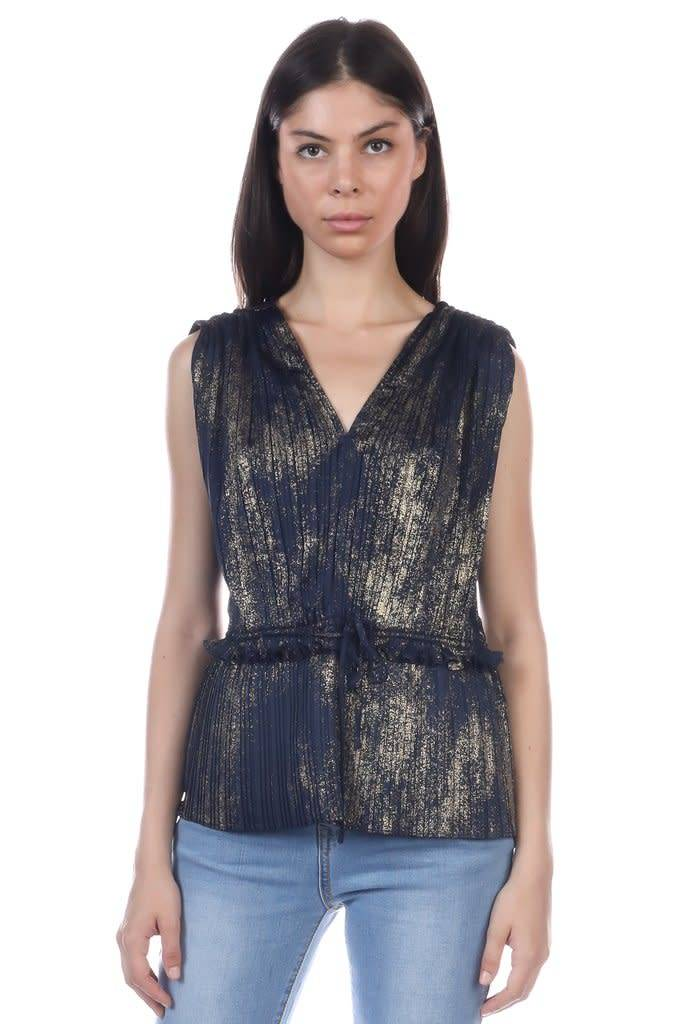 Gold Foil Pleated Sleeveless Top Navy/Gold