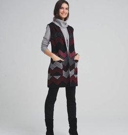 Tribal Shawl Collar Vest w/ Pockets Zinfandel