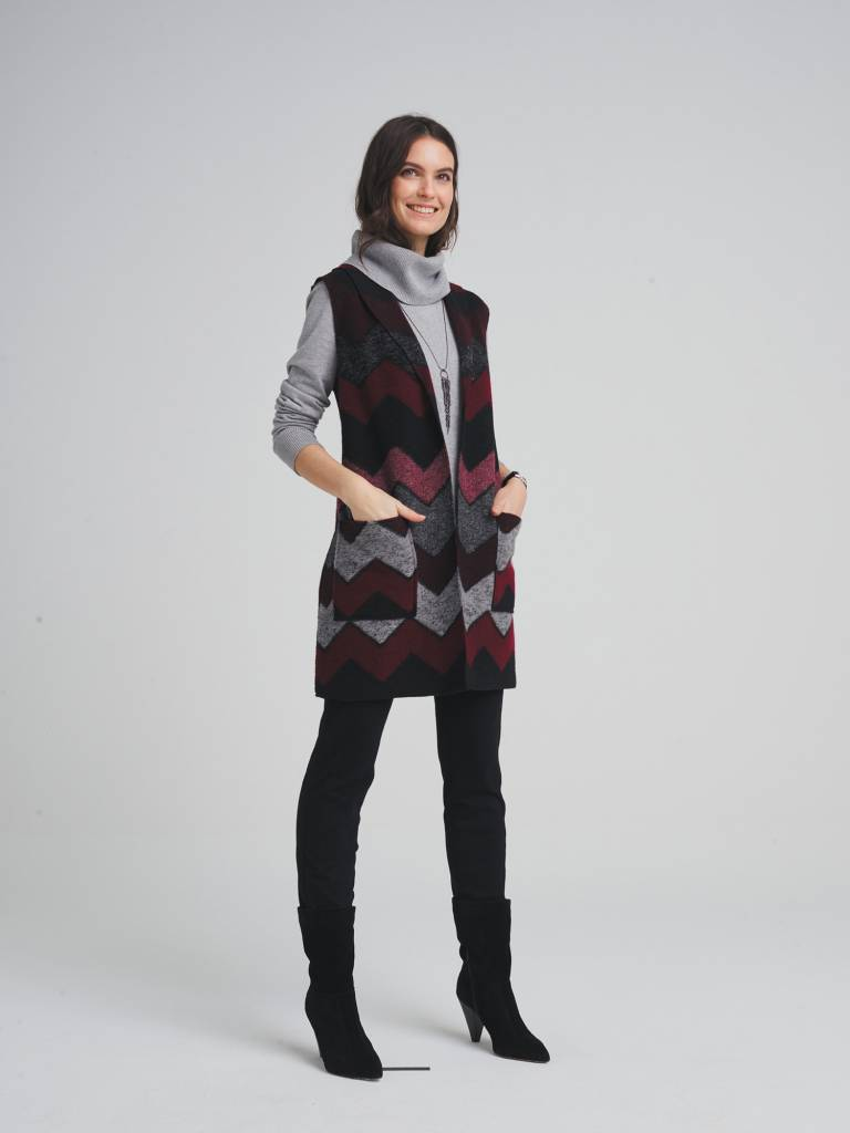 Tribal Shawl Collar Vest w/ Pockets Zinfandel
