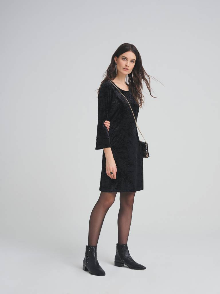 Tribal L/S Frill Detail Dress Black
