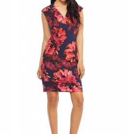 Floral Sheath Dress Navy/Orange