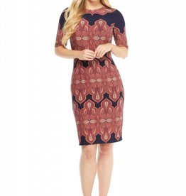 Jersey Sheath Dress Navy/Orange