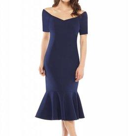 Navy Crepe Off Shoulder Dress