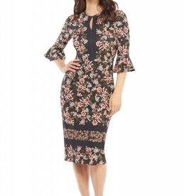 Printed Crepe Sheath Dress Black/Blush