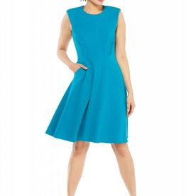 Teal Crepe Fit & Flare Dress