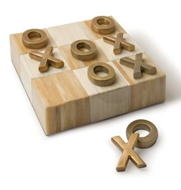 Tic Tac Toe Flat Board w Brass Pieces