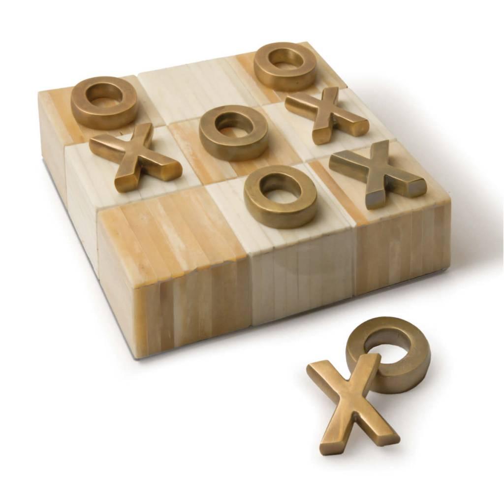 Tic Tac Toe Flat Board w Brass Pieces
